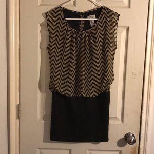 Sweet Storm mini dress- tan and black